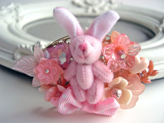 Hair Clip kawaii fairy kei lolita accessory white bunny rabbit plush kanzashi PINK
