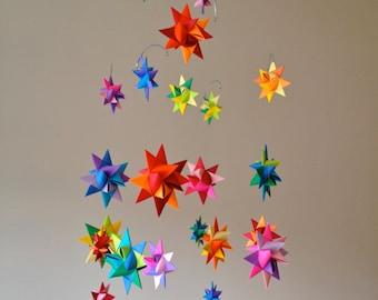 Modern Baby Mobile Hanging Origami Stars -'Constellation' Rainbow