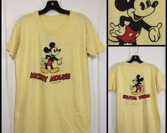 1960s 2 sided Mickey Mouse t-shirt looks size large 20x26.5 all cotton yellow Disney character tee