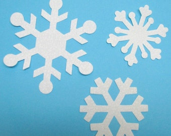 Appliques, Snowflakes, DIY,  12 snowflake appliques, iron-on and sew,  TEMPORARILY fused cotton,  precision die cut