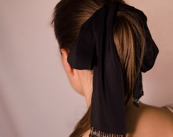 Silk bow  black (or off-white) ribbon hair decor with beads
