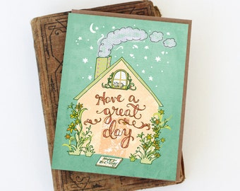 Birthday House Card - happy birthday house, birthday card, have a great day card
