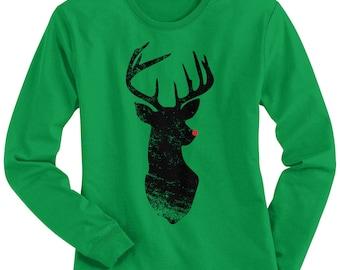 Red Nose Reindeer Women's Long Sleeve T-shirt - Raw-Edge Raglan - Short Sleeve T-shirt - V-Neck Fitted T-shirt