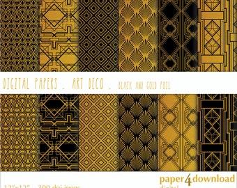 "Art Deco - Black & Gold Foil, Digital Paper, 12'x12"", 300 dpi JPG, Printable, Instant Download"