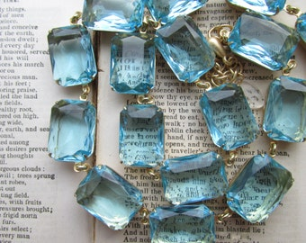 Aqua statement necklace,  georgian collet necklace, Anna Wintour necklace, aquamarine necklace. Beyond the Season