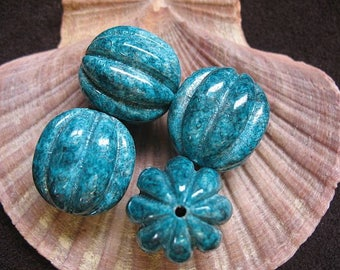 Vintage Lucite Beads Teal Speckled Fluted Pumpkin Shape Pattern  22mm x 21mm - Four pieces