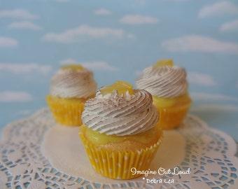 Fake Cupcake Handmade Fake Lemon French Meringue Toasted Cupcake Lemon Slice