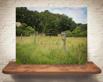 Birdhouse on Fence Photograph - Fine Art Print - Color Photography - Wall Art - Wall Decor -  Farm Pictures - Farmhouse Decor