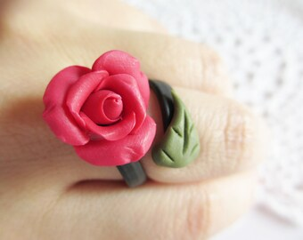 Polymer Clay Ring, Rose Ring, Adjustable Ring, Flower, Handmade Jewelry, Flower Jewelry, Red Rose,