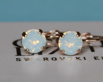 Rose Gold Plated Leverback White Opal  Earrings made with Swarovski Crystal Elements by LacyCJewellery