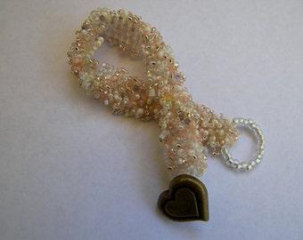 Charming Pink & White Glass Beaded Bracelet
