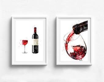 Wine poster, wine wall decor, wine lover gift, wine painting, wine gift idea, kitchen art, kitchen poster, food art restaurant art, wall art