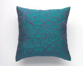 Emerald Green Filigree embroded cushion cover. Green decorative pillow custom made 18inch