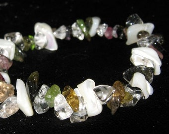 Tourmaline, Mother of pearl and Rock Crystal - 3 Gemstone Bracelet - one size fits all