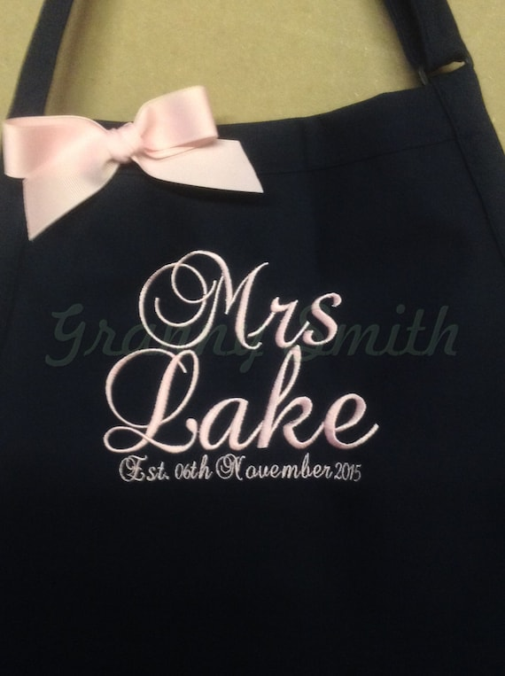 """The """"Mrs"""" Apron with """"Estd. date"""" & 3 Pockets your color choice bow or no (24""""L x 28""""W) Fall Winter, beach, island, pastel, robin egg blue"""