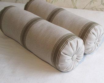 FRENCH LAUNDRY Linen/cotton 7x22 Bolster/lumbar pillows PAIR green stripes
