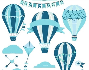 ON SALE Hot Air Balloon clipart, baby boy hot air balloon clipart,blue hot air balloons clipart, boy clipart, instant download clipart