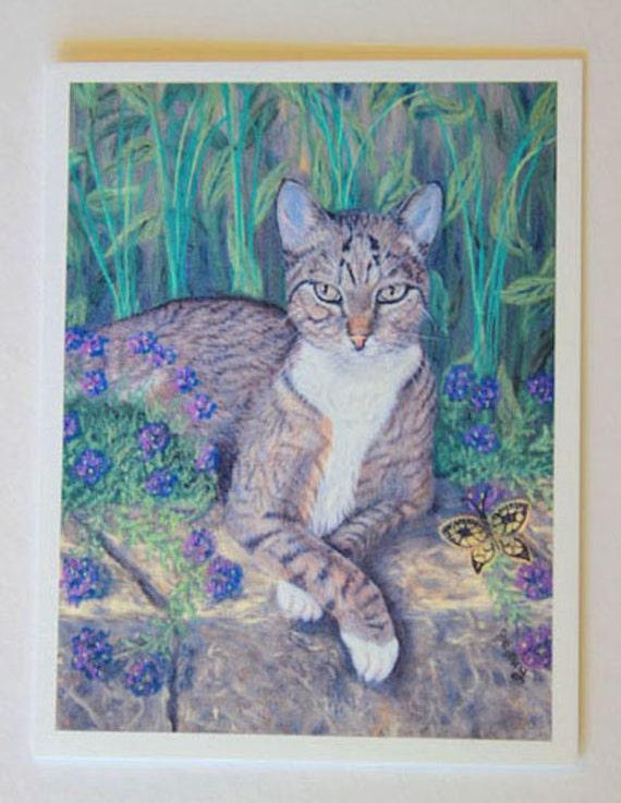 Cat art, note card, blank greeting card, feline art, Boston's Garden, Tabby cat, fine art, single card, pet portrait, pastel painting