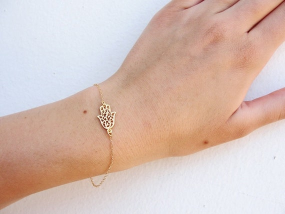 Dainty Gold Bracelet Hamsa Hand Protection Bracelet Hamsa