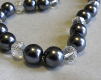 25 beads 14 mm glass Pearl black mother of Pearl imitation black pearls
