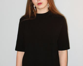 black polo neck sweater with pearl details / simple polo neck sweater / black roll neck sweater embroidered with black pearls
