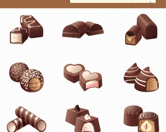 Food Illustration. Chocolate Candy Illustration. Chocolate Digital Images. Chocolate Clipart 024