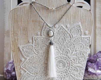 Tassel Necklace, Festival Necklace, Bohemian Style, Pearl Necklace, Crystal Necklace, Beaded Necklace, Long Necklace, Everyday Necklace,