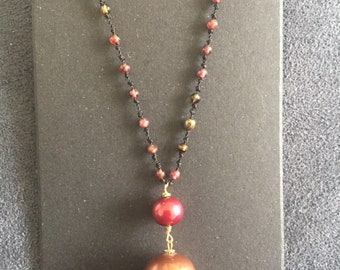 Maui Sunset knotted beaded gemstone necklace