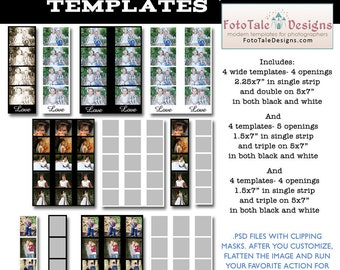 INSTANT DOWNLOAD - Photo Booth Strip Template Set - Set of 12 custom photo templates