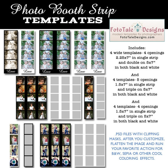 INSTANT DOWNLOAD Photo Booth Strip Template Set Set of 12