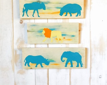 SAFARI NURSERY DECOR - Rustic Nursery Art - Animal Nursery Art - Nursery Wall Art - Safari Animal Art - Safari Nursery - Animal Nursery