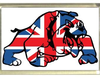 Union Jack Flag British Bulldog Fridge Magnet 7cm by 4.5cm,