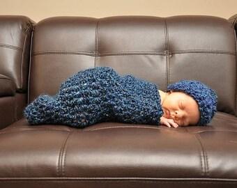 Blueberry Newborn Cocoon Beanie Hat Set