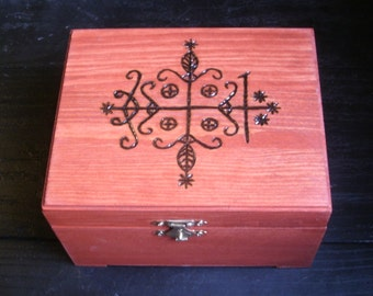 Papa Legba's Vévé Box (Pyrography) You Pick the Color, Free US Shipping