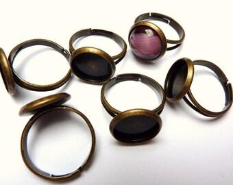 50 ring shanks, blanks, bases, settings Ø12mm, bronze