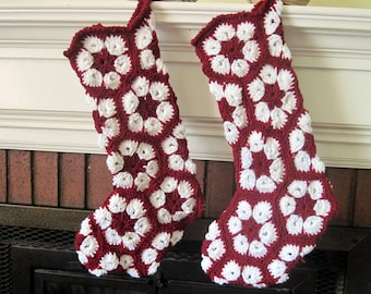 Large Flowered Crocheted Christmas Stocking in Red and White