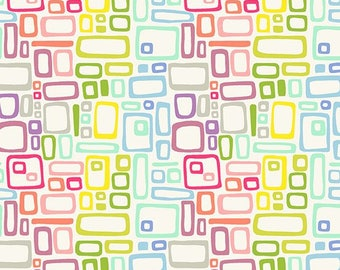 Rainbow Rectangles White Fabric / Rectangle Blender Fabrics / Andover 8664 by Kim Schaefer Art Fabric by the yard & Fat Quarter