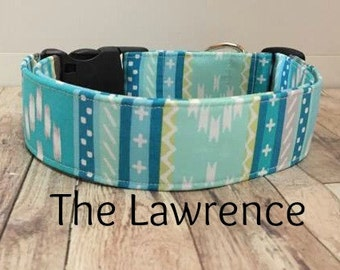 "Blue Tribal Dog Collar ""The Lawrence"""