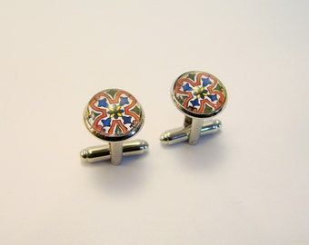 MEXICAN TALAVERA TILE Silver Cuff Links -- Mexican art cuff links, Detail from hand-painted tile, Friendship token