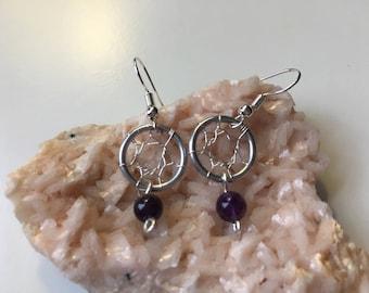 Amethyst Dream Catcher Earrings