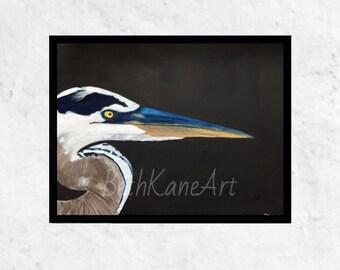 Heron Art Print, Blue Heron Art Print, Original Art Print, Blue Heron-Print Only/No Frame