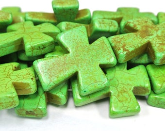 "Green Cross Beads, Large Crosses, 35x30mm Magnesite Crosses, Green Howlite Crosses, 16"" Strand, 11 PCS, Cross Jewelry, Wholesale Beads"
