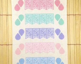 S028 - 40 Swirly Flourish Banner Flags & Tear Drop Planner Stickers