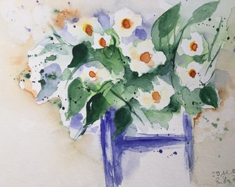 Original watercolor watercolor painting picture Art daisies Flowers