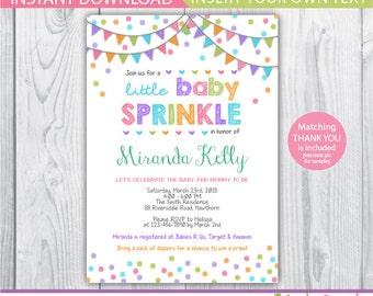 Baby Sprinkle Invitation / Baby Sprinkle Invitation Girl / Baby Sprinkle  Shower Invites / Sprinkle Baby