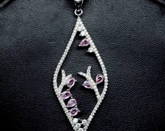 Solid Sterling Silver Pink Sapphire Pendant
