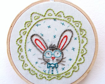 BUNNY BOY - pdf embroidery pattern, bunny face, bunny with glasses, bunny with bowtie, easter bunny, stitching design, bunny rabbit wall art
