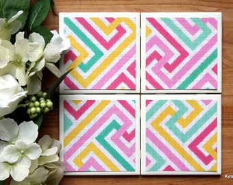 Coaster - Tile Coaster - Coasters for Drinks - Coasters Tile - Colorful Coasters - Handmade Coasters - Coasters - Drink Coasters