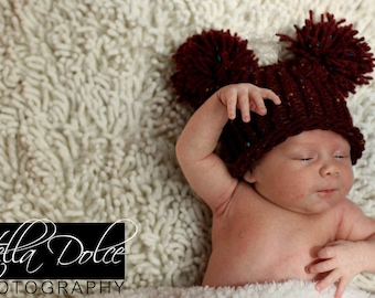 Raspberry Ice Cream with Sprinkles EAR HAT Newborn Baby Flat Top Hat Photo Prop in Raspberry Red with Pom Poms