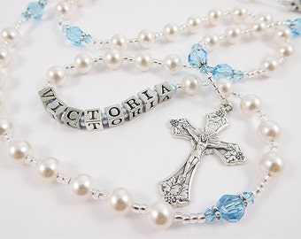 March Birthstone Personalized Rosary in White and Aquamarine Swarovski Pearl - Baptism, First Communion, Confirmation Gift